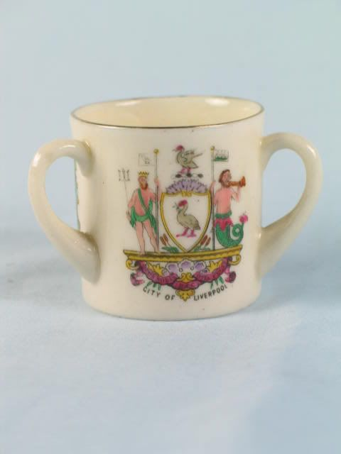 Crested China Tyg With Arms of City of Liverpool, Arcadian China