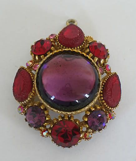 Sphinx Brooch, Necklace Pendant, Red & Amethyst Stones, Circa 1970s