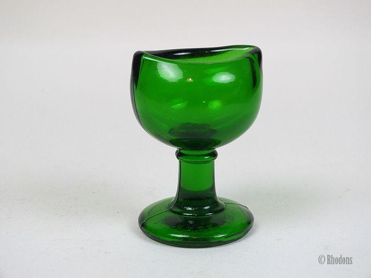 Vintage Chemists Glass Eye Bath, Emerald Green, Circa 1940/50s