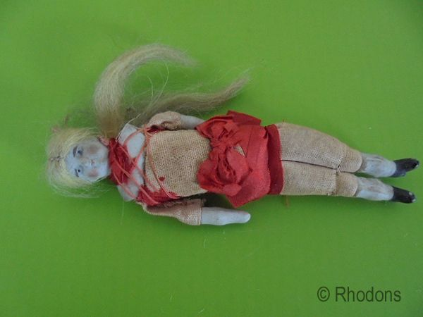 Antique Miniature Bisque Porcelain Doll, Dolls House Doll