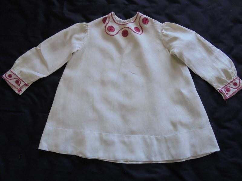 Victorian Childs Linen Smock Dress, Handmade With Red Embroidery Circa 1880s