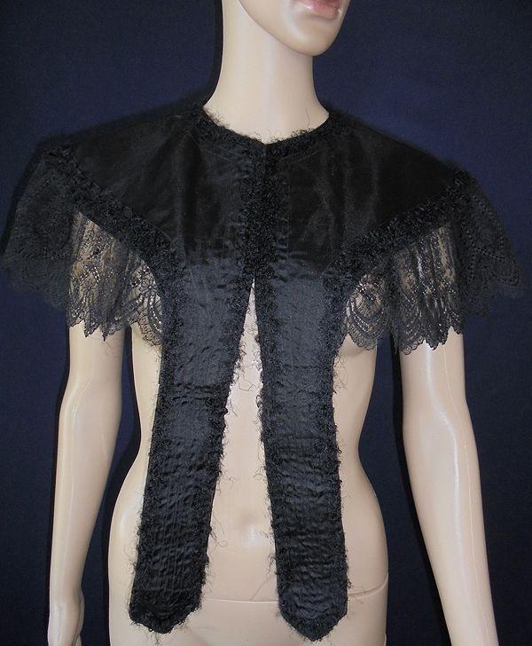 Victorian Pelerine Capelet, Black Silk Satin & Lace