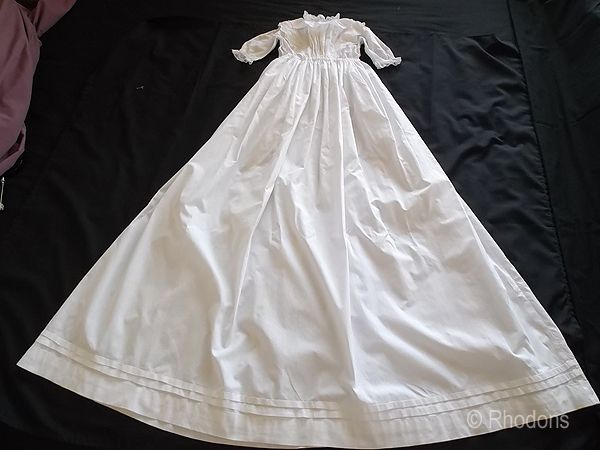 Antique Baby Christening Gown, White Work & Lace, Circa 1900s