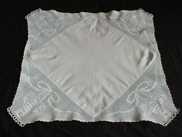 Antique Linen & Crochet Lace Tablecloth, Basket Pattern