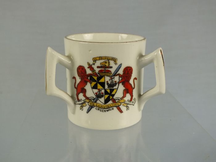 Crested China Tyg, Arms of London, Greenwich and Kent, Fenton China