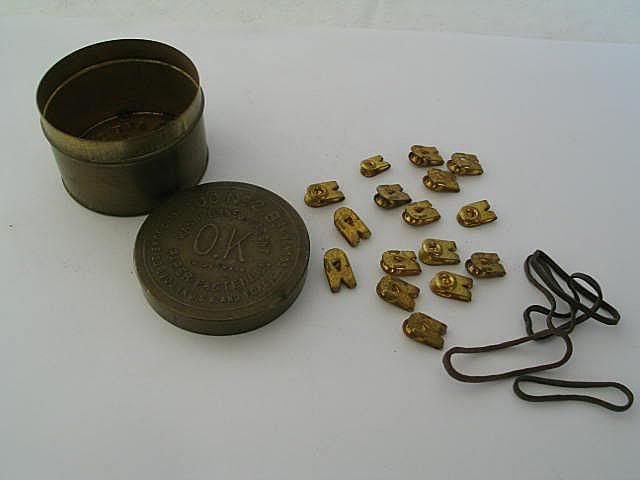 Antique Washburnes 'OK' Brand Paper Fasteners Tin,