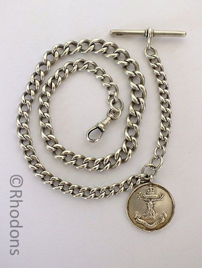 Gordon Highlanders Regiment Silver Pocket Watch Fob & Chain