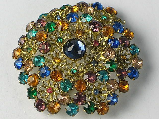 Czech Filigree Harlequin Crystal Brooch. Circa 1920s, 1930s
