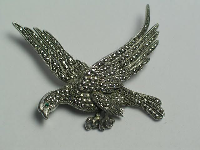 Antique Silver Marcasite Eagle Brooch, Circa Early 1900s