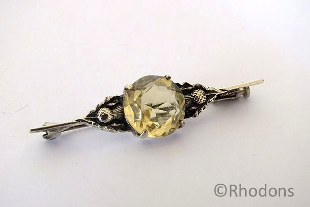 Scottish Silver & Citrine Bar Brooch With Thistles