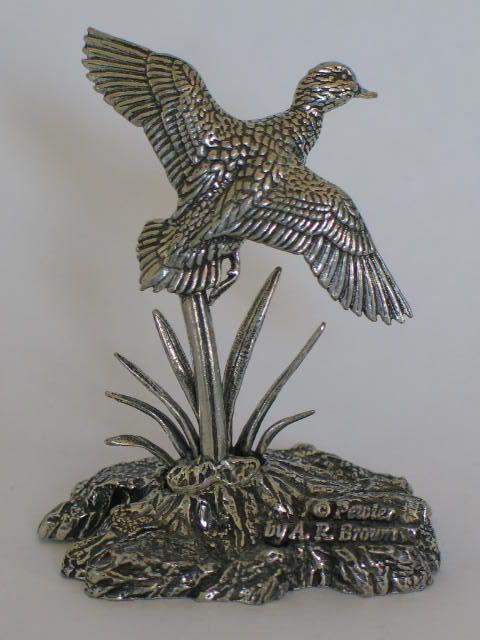 Pewter Wildfowl, Duck Figure By A R Brown