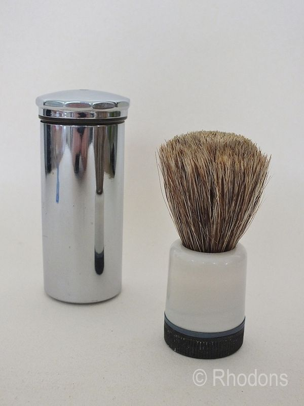 Chrome Plated Shaving Brush Holder, With Brush. Circa 1930s