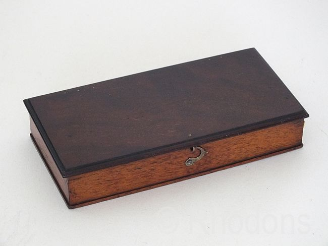 Old Mahogany Wood Box, Hinged Lid, Early 1900s
