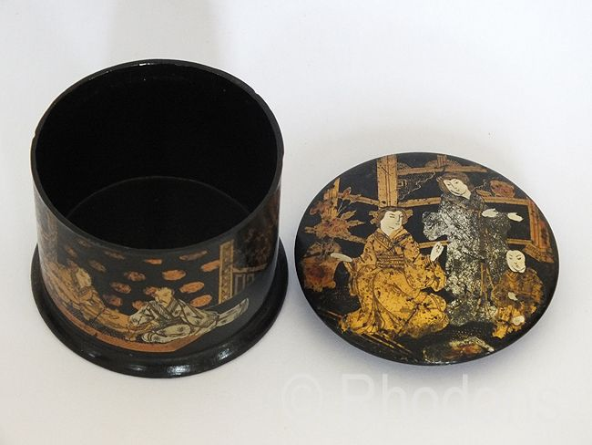 Japanese Lacquered Papier Mache Trinket Box, Meiji Period, Circa 1880s