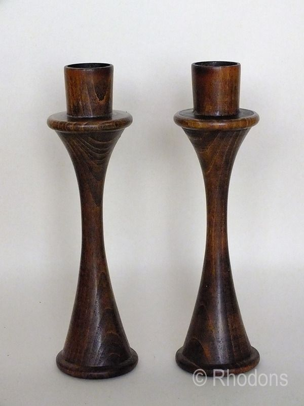 Wooden Candlesticks, Scandinavian Design, 1960s Retro