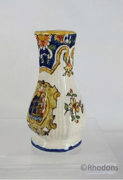 Antique French Faience Bud Vase, Dieppe. Circa Early 1900s