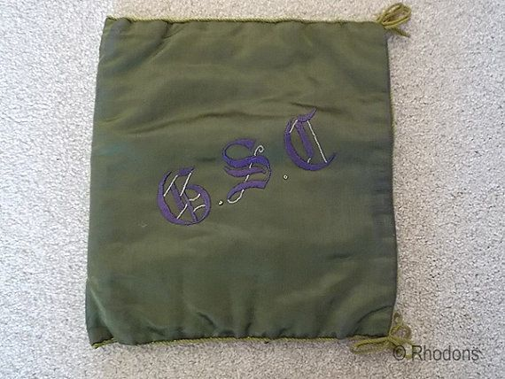 Ladies Satin Handkerchief Holder, Embroidered Monogram G S C, Circa 1920s