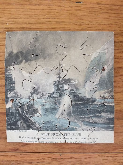Wooden Jigsaw Puzzle, H.M.S Warspite Destroyer Flotilla at Narvik 1940 Fran