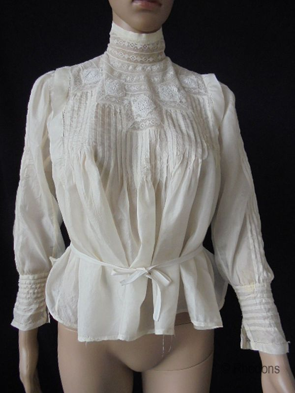 Edwardian Silk Shirtwaist Blouse, Lace With Pintucks & Ties