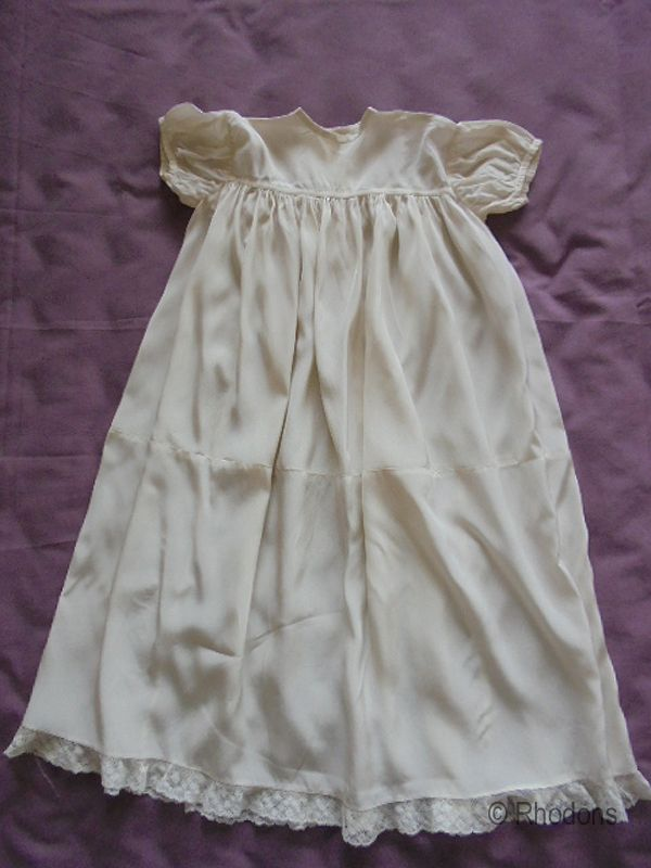 Antique Net Lace /Tulle Baby Christening Gown With Silk Petticoat