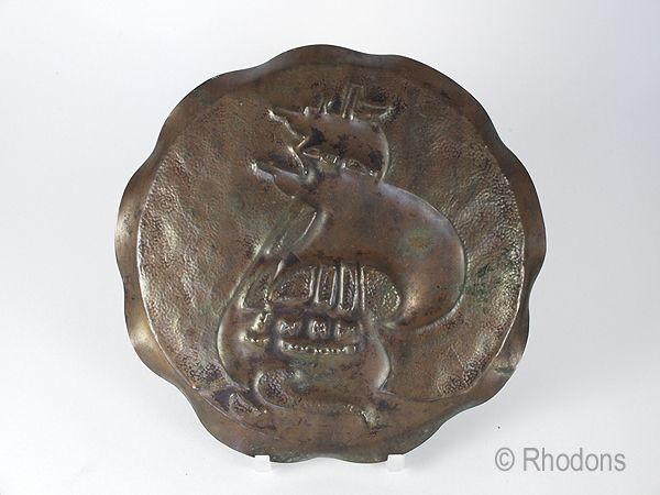 Antique Art Nouveau Copper Tray, Plaque With Galleon Decoration, Circa Early 1900s