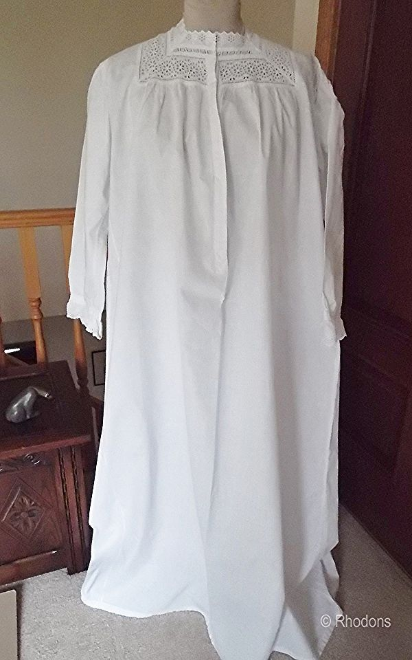 Victorian Nightdress, Nightgown With White & Cut Work Lace Bodice
