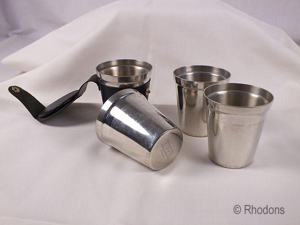 Birks English Pewter Travelling Stirrup Cup Set