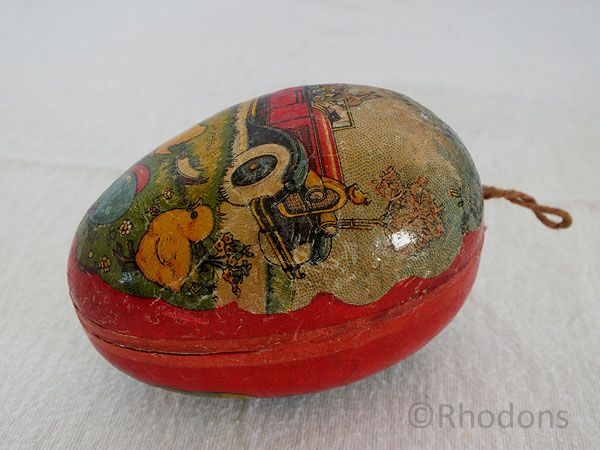 Papier Mache Easter Egg Candy Container, Car & Rabbit Decor