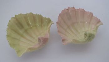 Royal Worcester Blush Porcelain Shell Trinket Dishes, Pair