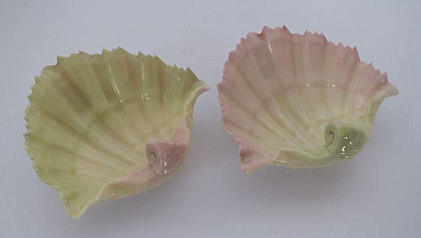 Royal Worcester Blush Porcelain Shell Trinket Dishes, Pair