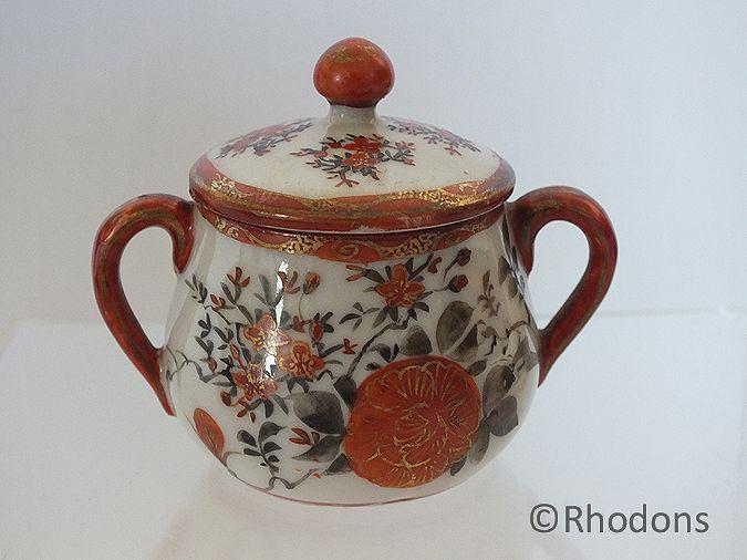 Antique Japanese Porcelain Miniature Sugar Bowl