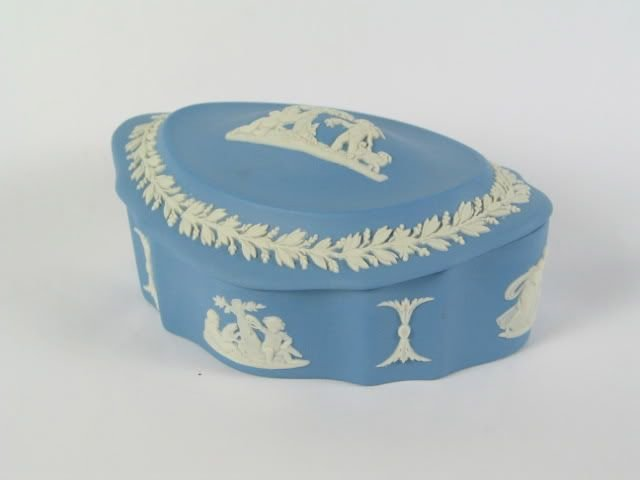 Wedgwood Jasperware Ribbed Oval Cherub Box