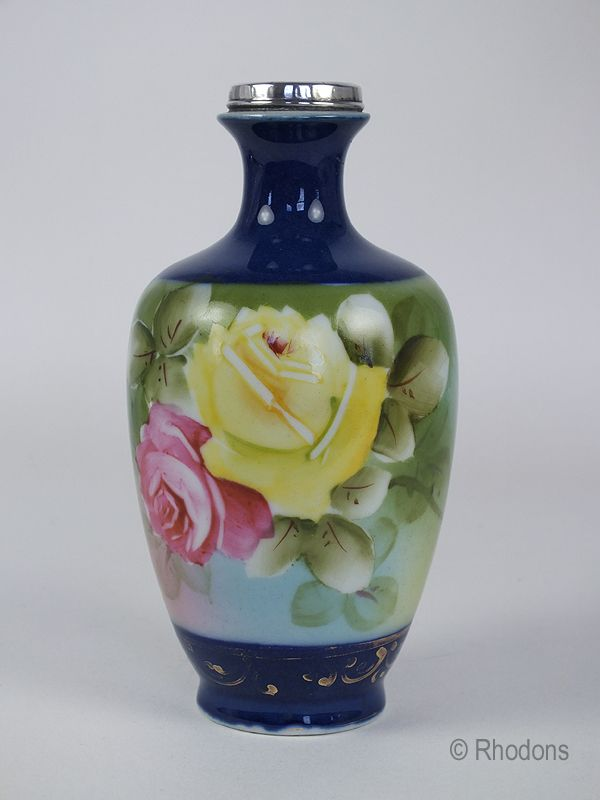 Handpainted Japanese Vase With Silver Collar. Circa 1920s