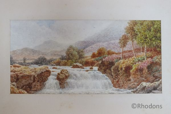Victorian Watercolour Painting Of Falls of Falloch Loch Lomond.