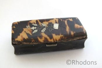 Antique Snuff Box, Pressed Horn and Tortoiseshell, 19th Century
