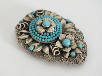 Antique Czech Art Deco Dress Clip, Turquoise Glass Beads