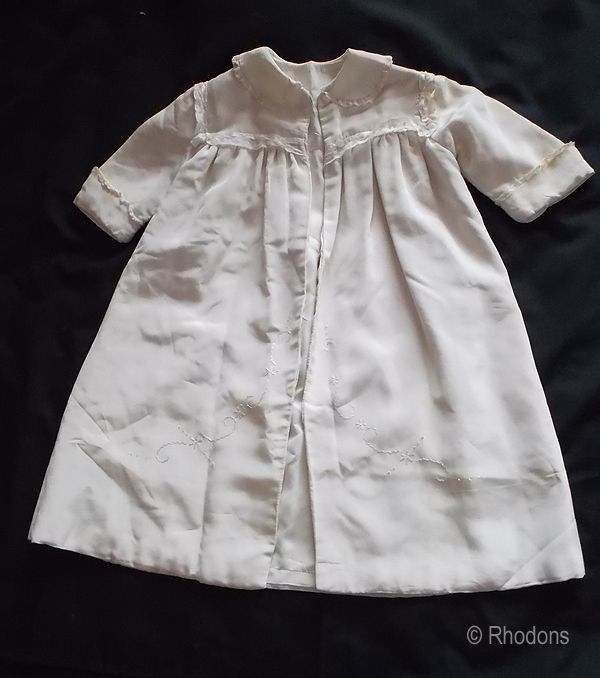 1930s Baby Christening Coat, Cream With Silk Embroidery & Lace
