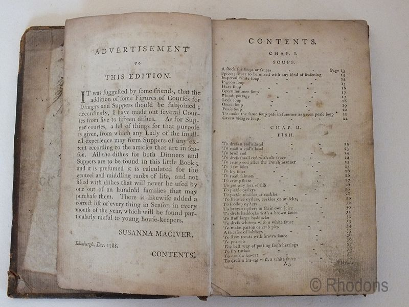 Macivers Cookery 1788 Edition