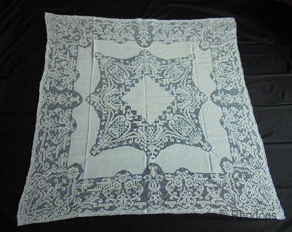 Antique Knotted Filet Lace Tablecloth