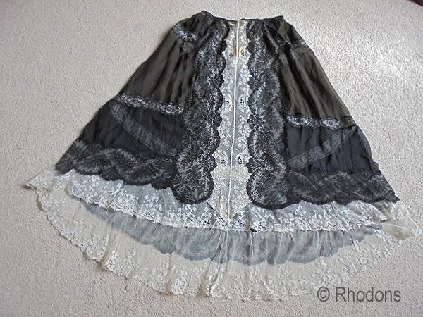 Victorian Ladies Lace Dress Overskirt With Carrickmacross / Chantilly Lace