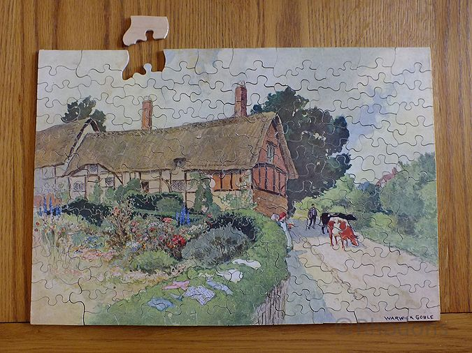 Warwick Goble Chad Valley GWR Series Wooden Jigsaw, Anne Hathaway's Cottage