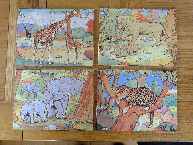 Children's Jigsaws x4, Elephant, Giraffe, Leopard & Lion