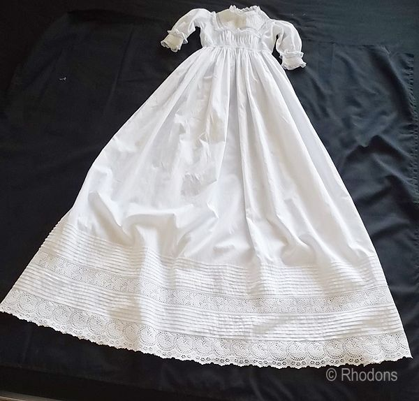 Victorian Baby Christening Gown, Hand Made, Circa 1900