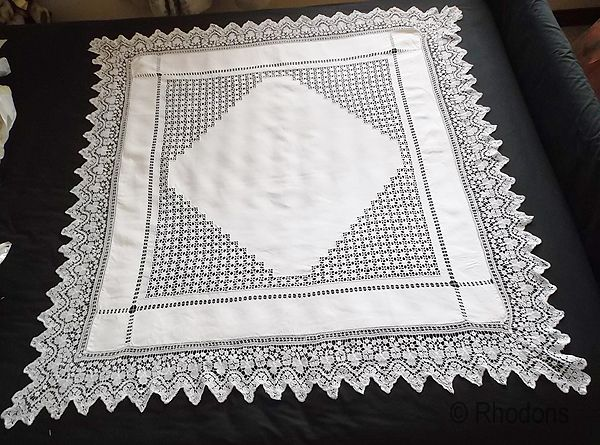 Antique Irish Linen Tablecloth, Drawnwork, Honiton Lace With Shamrocks,
