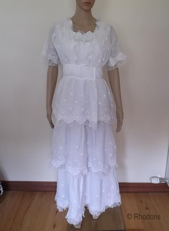 Edwardian Tea Dress, Tiered With White Work Embroidery & Tulle Lace