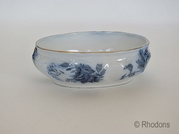 Royal Doulton Flow Blue Sweet Dish. Late 1800s, Early 1900s