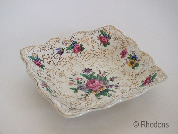 Midwinter Roses & Gold Square Chintz Dish
