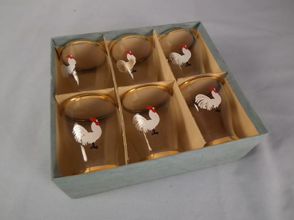 Shot Glasses x6, Original Box, Rooster,Cockerel Motifs, 1950/60s | Vintage Home Decor