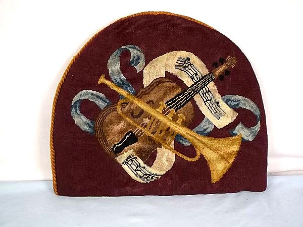 Antique Tapestry Tea Cosy Teapot Cover With Musical Theme, Handworked