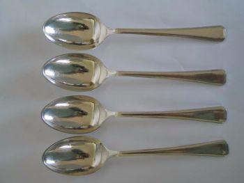 Elkington Silver Plate Dessert Spoons, x4, Salisbury Pattern, 1960s